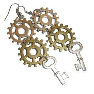 Steampunk Earrings Skeleton Key Earrings Gears